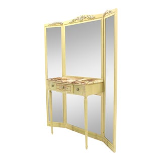 Tri-Fold Mirror Vanity with Onyx Top and Bench For Sale
