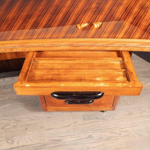 Art Deco Machine Age Bow Front Bookmatched Rosewood, Walnut & Black Lacquer Desk For Sale - Image 10 of 11