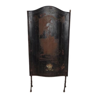 Antique Early American Tall Black Fireplace Screen French Country For Sale