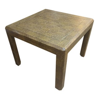 1970s Mid-Century Modern Lacquered Grasscloth Parsons Side Table For Sale
