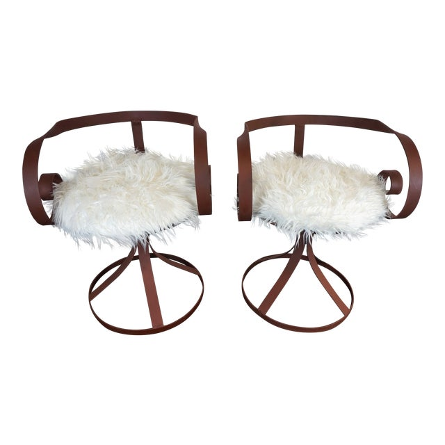 Sultana Style Metal & Faux Fur Chairs - A Pair For Sale