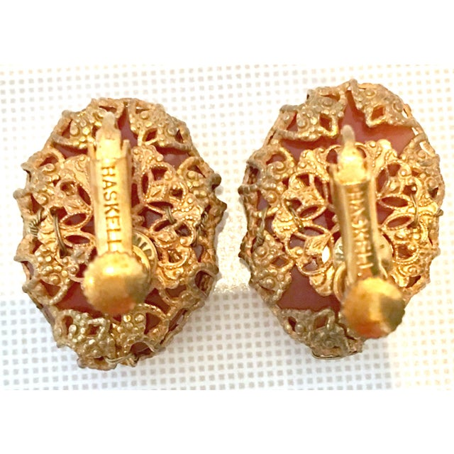Orange Mid-Century Mirian Haskell Russian Gold Carved Glass Scarab Earrings-Signed For Sale - Image 8 of 9
