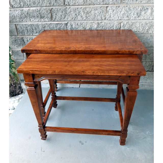 Hollywood Regency Vintage Heritage Furniture Cherry Nesting Tables With Curly Burl Wood Banding, 2 Pieces For Sale - Image 3 of 13