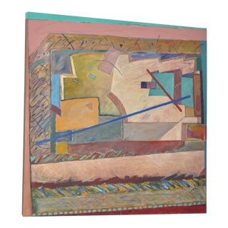 Vintage Abstract Oil Painting by Raymond Abeyta C. For Sale