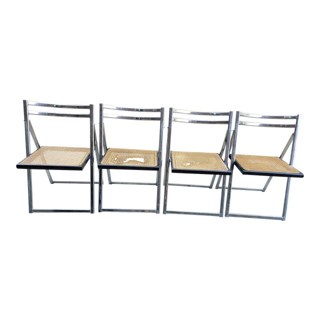 Mid Century Modern Chrome & Cane Folding Chairs- Set of 4 For Sale
