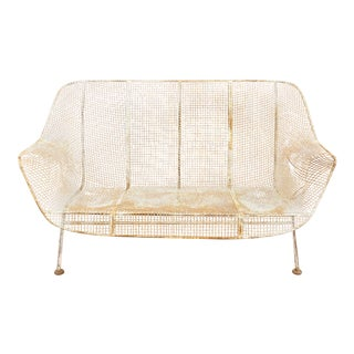 1950s Vintage Russell Woodard Sculptura Metal Mesh Wrought Iron Loveseat Sofa For Sale