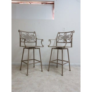 2 Woodard Landgrave Cast Classics Aluminum Outdoor Bar Stool Pair Preview