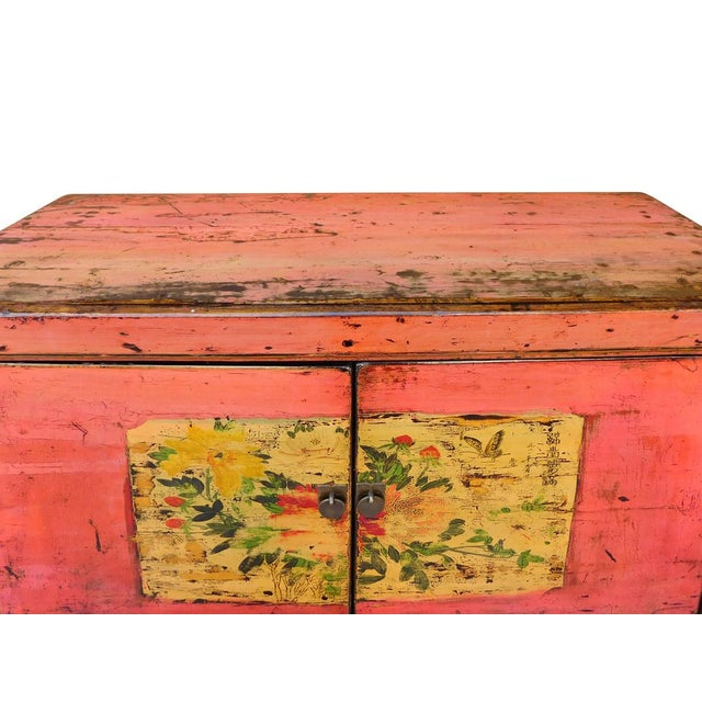 Distressed Chinese Pink Floral Console Cabinet - Image 6 of 8