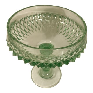 Vintage Anchor Hocking Glass Diamond Point Compote Bowl For Sale