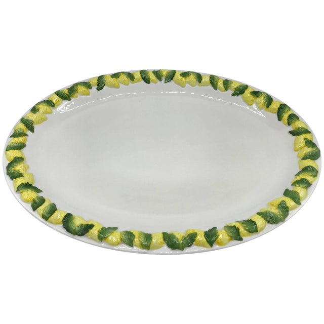 1960s Italian Ceramic Serving Tray With Sculptural Lemon Motif Border For Sale - Image 10 of 10