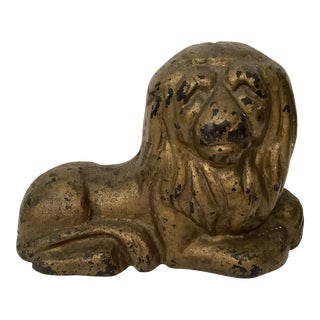 Vintage Painted Cast Iron Lion Doorstop For Sale