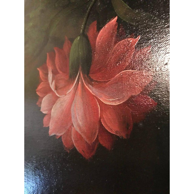 Orange A Palatial Framed Oil On Canvas Still Life Of Flowers For Sale - Image 8 of 12