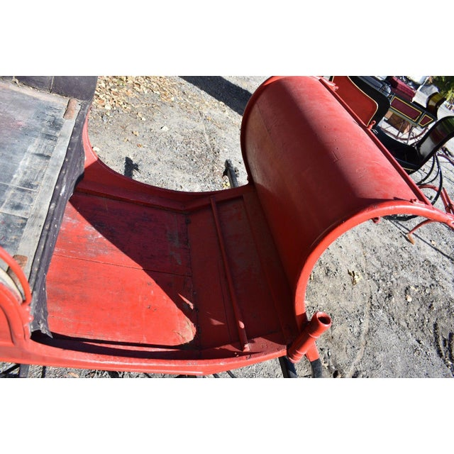 Antique Red Portland Cutter Sleigh Vintage Horse Drawn Holiday Sled - Image 7 of 8