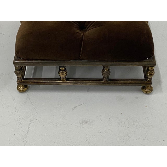 1920s Edwardian Brass & Velvet Footstools - a Pair For Sale - Image 5 of 10