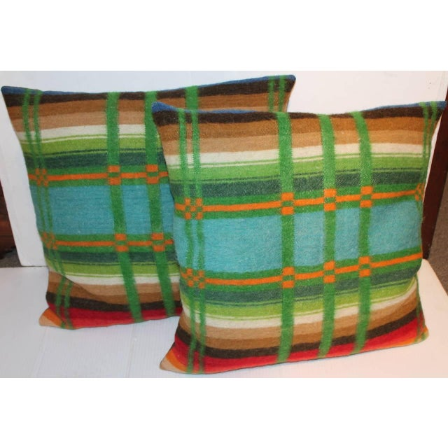 19th century horse blanket pillows. Beautifully handmade wool horse blanket pillows that have been professionally cleaned....