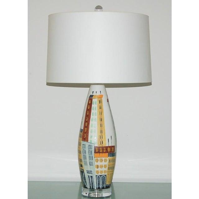 Italian Vintage Bitossi Italian Ceramic Cityscape Table Lamps For Sale - Image 3 of 10