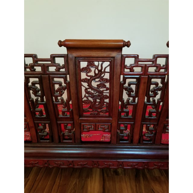Vintage Mid Century Asian Carved Rosewood Settee For Sale - Image 9 of 12