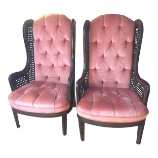 High Back Tufted Captains Chairs - A Pair