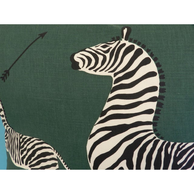Scalamandre Green Jumping Zebra Pillows - A Pair For Sale - Image 5 of 6