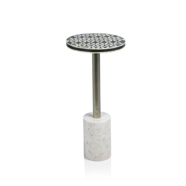 Art Deco Kenneth Ludwig Sultana Round Bone & Marble Drinks Table For Sale - Image 3 of 3