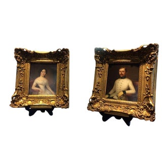 19th Century Antique Portraits Oil on Tin - A Pair For Sale
