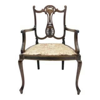 Antique Inlaid Edwardian Arm Chair For Sale