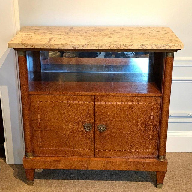 Art Deco French Sienna Marble and Burlwood Bar or Sideboard For Sale - Image 3 of 13