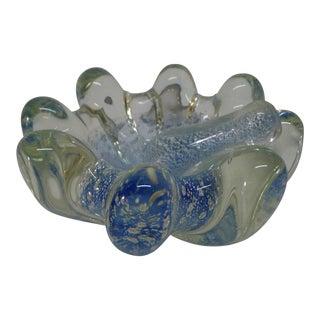 1950s Mid-Century Modern Blue Murano Glass Bowl For Sale