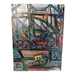 Modernist Cityscape River Bridge Oil Painting on Board For Sale