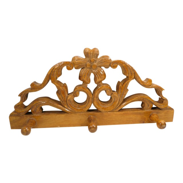 European Vintage Small Hand Carved Rosette Wall Hook For Sale