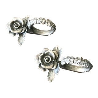 1990s Vintage Rose Pewter Napkin Rings-a Pair For Sale