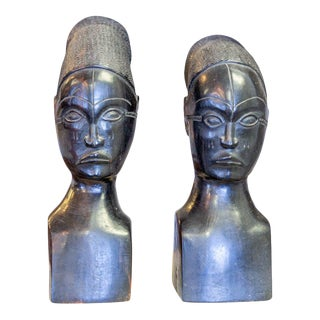 Mid 20th Century African Ebony Bookend Busts - a Pair For Sale