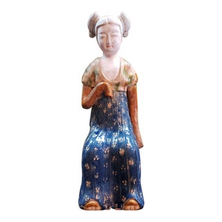 Vintage Mid 20th Century Chinese Tang Dynasty Style Sancai Glazed Clay Seated Court Lady Mingqi Tomb Figure For Sale