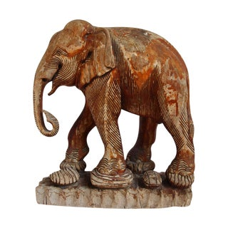 Antique Thai Wood Elephant For Sale