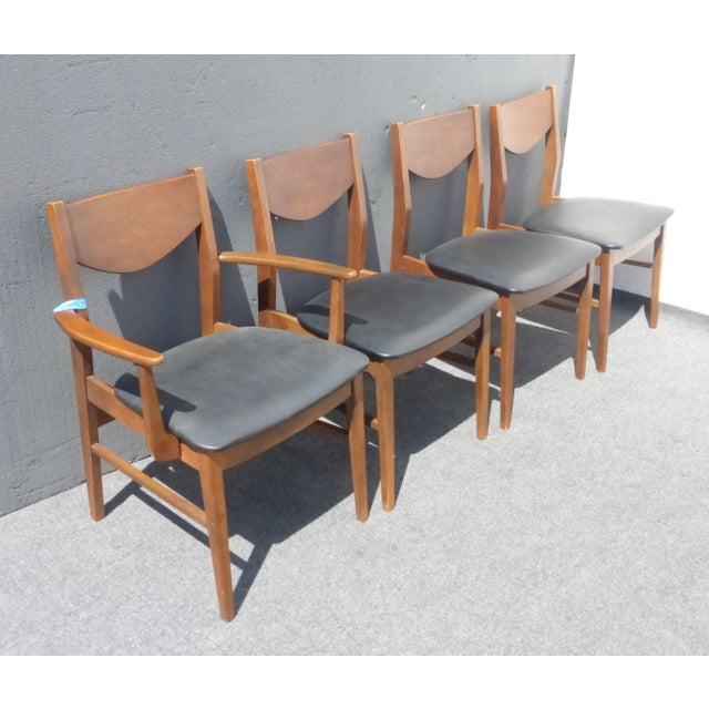 Mid Century Modern Vintage Black Vinyl Dining Room Chairs By Stanley For