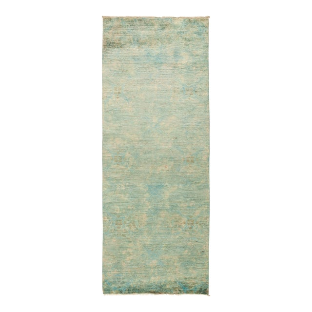"""Contemporary Vibrance Hand-Knotted Runner 3' 0"""" x 7' 10"""" For Sale"""