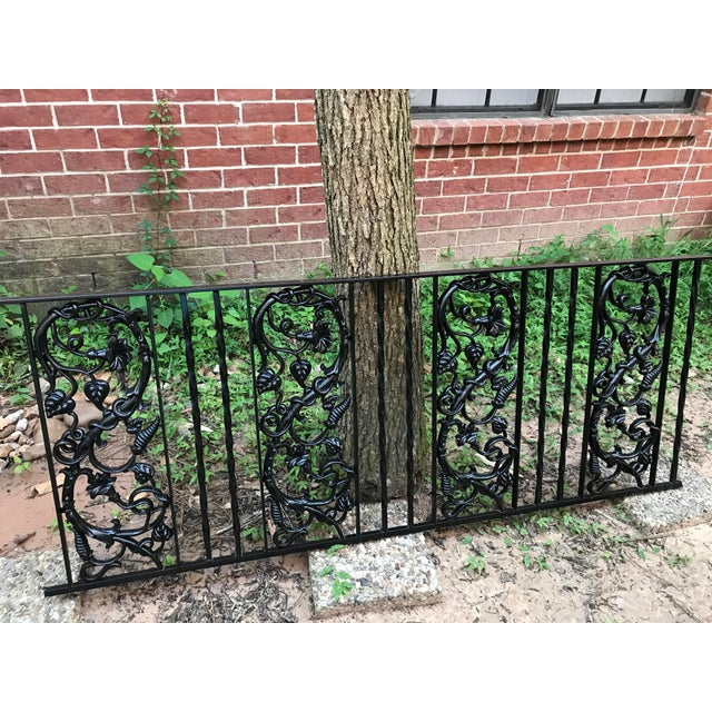 Restored Vintage Wrought Iron Railing With Cast Iron Pattern - Image 2 of 4