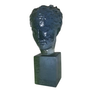 Blue and Green Resin Female Bust