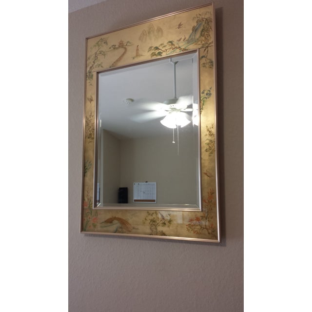 Asian Labarge Chinoiserie Eglomise Reverse Painted Gold Leaf Mirror For Sale - Image 3 of 11