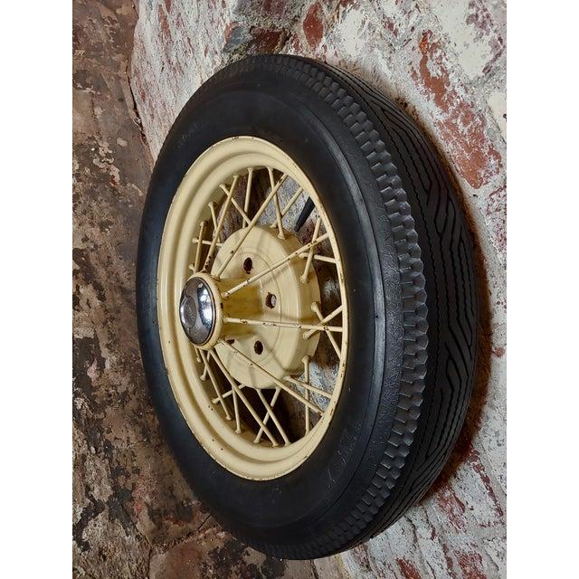 Black Ford Model a Original 1920/30s Wire Spoke Wheel W/Insa Tire For Sale - Image 8 of 10