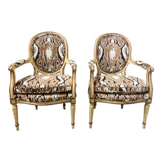 Pair of French Style Arm Chairs For Sale