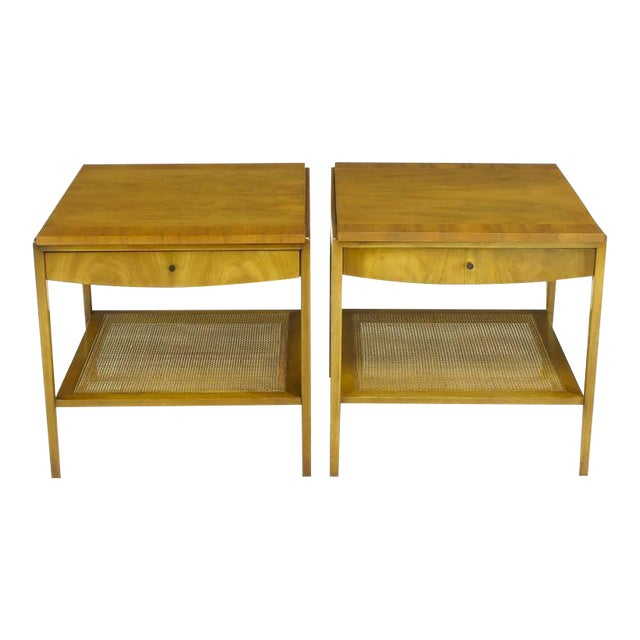Pair Widdicomb Bleached Walnut & Cane Single Drawer End Tables - Image 1 of 10