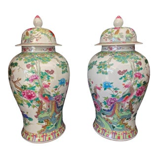 Lg Chinoiseire Famille Rose Porcelain Ginger Jars Pair For Sale