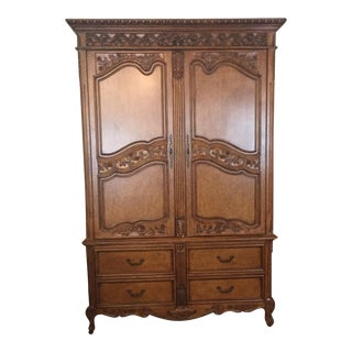 Large Custom Carved Wood Armoire