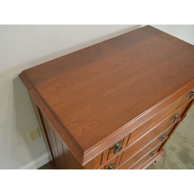 Cinnamon Antique Victorian Walnut Eastlake 4 Drawer Lock - Side High Chest For Sale - Image 8 of 12