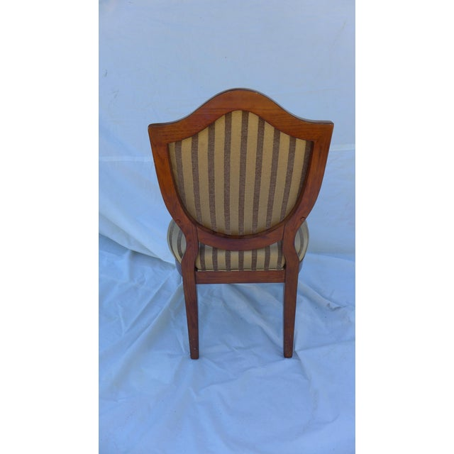 Wood Shield-Back Striped Armchair For Sale - Image 7 of 7