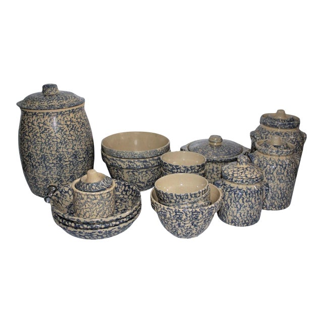 Rare Set of 19th Century Spongware Kitchen Organizer For Sale
