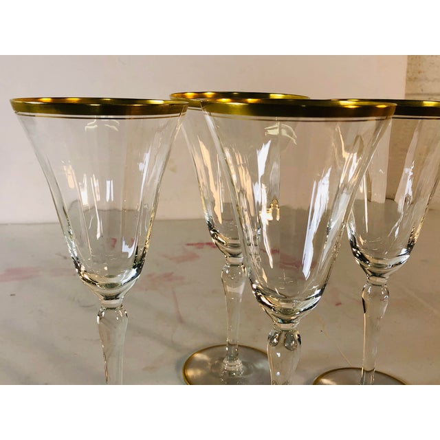 Hollywood Regency Double Gold Rim Champagne Stems, Set of 4 For Sale - Image 9 of 10