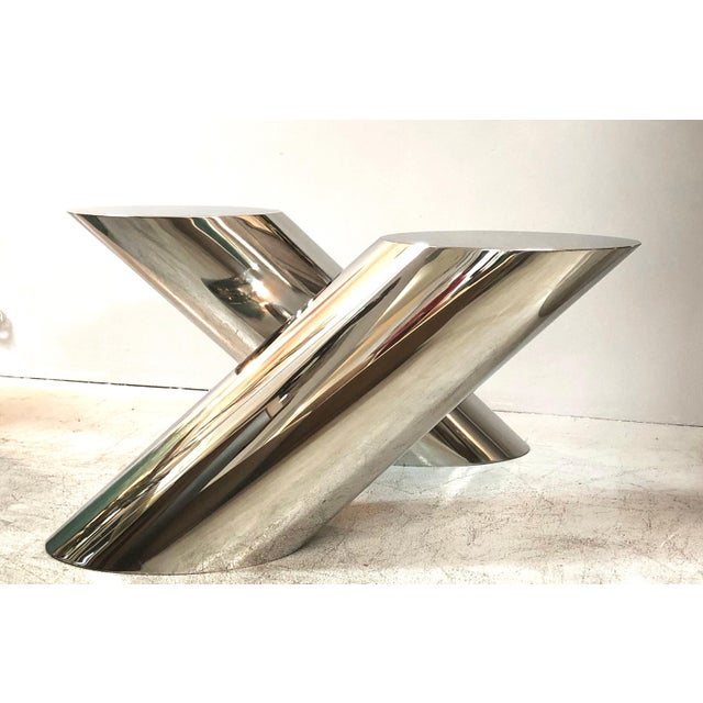 Metal J. Wade Beam Zephyr Cantilevered Stainless Steel Side Table by Brueton For Sale - Image 7 of 11