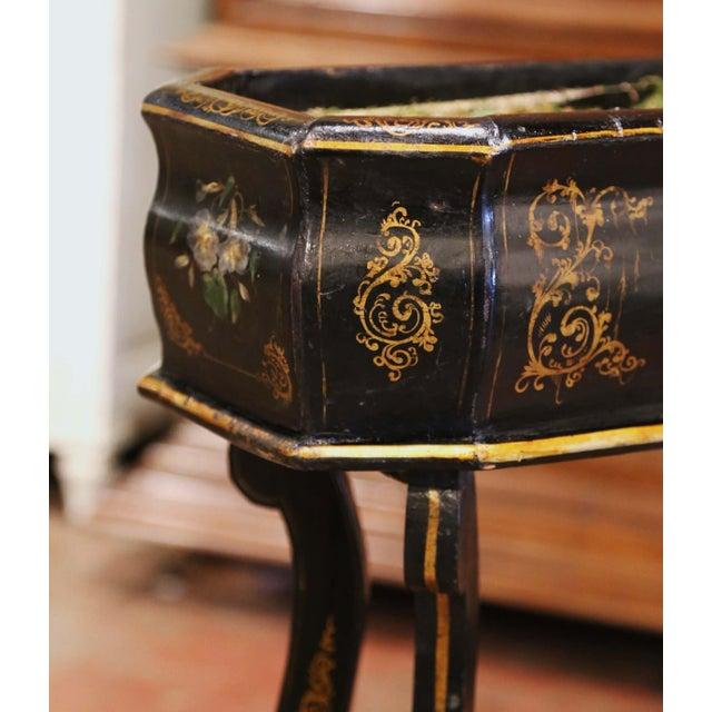 Black 19th Century French Napoleon III Painted Plant Stand With Floral Motifs For Sale - Image 8 of 11